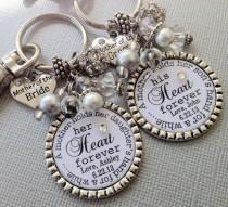 wedding photo - Mother of the BRIDE gift / MOTHER of the GROOM Set- Personalized wedding jewelry - mother holds child's hand, heart forever, thank you gift