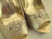 wedding photo - Wedding Shoe Clips Vintage Style Swarovski Crystal Bridal Clips for Wedding Shoes, Pumps, Prom, Gift