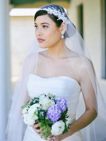 wedding photo - Wedding veil, Lace Veil, Juliet Cap Veil, cap veil with applique in waltz length, soft tulle