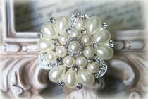 wedding photo - Large Rhinestone and Pearl Brooch ~ Crystal Brooch ~ Brooch Bouquet, Bridal Jewelry, Costume Jewelry, Crafting, etc RH-052