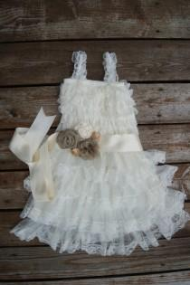 wedding photo - Rustic flowergirl dress. Country lace dress. Flower girl dress. Ivory lace flowergirl dress. Country wedding. Flowergirl lace dress
