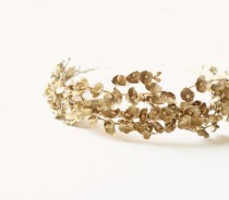 wedding photo - Gold bridal headpiece, Golden floral tiara, Hair crown, Vintage-inspired bridal head piece, Wedding hair accessory - GILDING LILIES