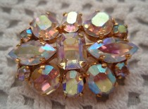 wedding photo - Vintage Aurora Borealis  Rhinestones  PIN  Made in Austria 1950s Chic Sparkle Wedding Bridal