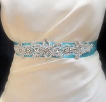 wedding photo - Bridal Pearl Beaded Sash Belt Wedding Sashes Belts Belt Buckle