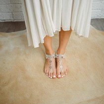 wedding photo - Barefoot anklet sandals, boho goddess, bellydancing, jewellery, flats, Sold as pair. Silver metal and jewels, beading. Style: 'Happy B1417'