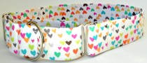 """wedding photo - Martingale Dog Collar - Multi Colored Hearts-Valentine or Wedding Collar """"Sorbet Love"""" - Available in Any Fabric Und"""