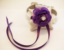 wedding photo - Purple Ring Pillow attach to the High quality Dog Leather  Collar, Ring Bearer Pillow, Wedding Dog Accessories
