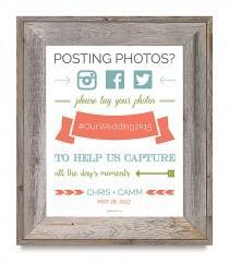 wedding photo - Super cute free printable wedding hashtag sign