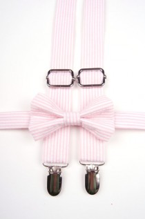 wedding photo - Pink Seersucker Bow Tie & Suspenders, pink strpe bow tie, pink bow tie, pink suspenders, pink suspenders, pink wedding, ring bearer outfit