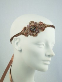 wedding photo - Bronze And Gold Baroque Flapper Beaded Headband Headpiece
