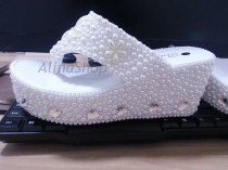 wedding photo - Wedding Sandals White Pearl Bridal Flip Flop Shoes Wedge Wedding Flip Flops Clean Diamonds Custom Bridal Shoes 3.5 inch