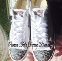 47aa2fe3d Bridal Custom Shoes - Swarovski Crystal Wedding Shoes - Pearl and  Rhinestone Converse - Bride Shoes - Wedding Cnnverse