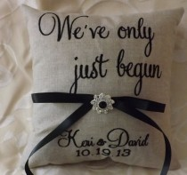 wedding photo - Embroidered Ring Bearer Pillow
