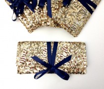wedding photo - Reserved Bridesmaid clutches in gold sequins with navy bow// Six 6 Sparkle glitter envelope slim wedding bag // Custom colors