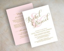 wedding photo - Gold glitter sparkle wedding invitation, pink and gold wedding invitations, typography, script names, cursive wedding invitation, Sparkle
