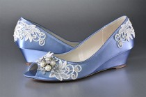 wedding photo - Lace Wedge Wedding Shoes - Custom Colors 120 - Women's PBP101.25 Bridal Wedge Shoe, Periwinkle, Pink2Blue Shoes