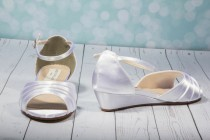 wedding photo - Wedding Wedge Shoes - Wedge - Wedding Shoes - Wedges- Parisxox By Arbie Goodfellow - Choose From Over 150 Color Choices - Dyeable Shoes