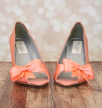 wedding photo - Wedding Shoes -- Peach Peep Toe Wedge Wedding Shoes with Off Center Matching Bow on the Toe