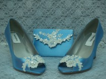 wedding photo - BLUE Wedding Wedge Shoes 4 PIECE Set clutch garter hair pin Lace pearls crystals - Bridal Wedge shoes Blue ivory