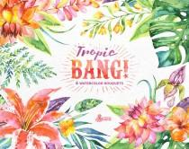 wedding photo - Tropic Bang Bouquets: 6 Watercolor Bouquets, lily, hibiscus, orchids, wedding invitation, floral, beach, greetings, diy clip art, flowers