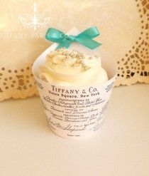 wedding photo - Tiffany And Co Seal Elegant Cupcake Wraps- Tiffany Blue Satin Bow And Faux Diamond Accent