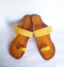 wedding photo - Us Size 9/Yellow Leather Sandals/Flip Flops/Summer shoes/Beach Wedding Shoes/Women Flats/Flat Sandals/Strap Sandals