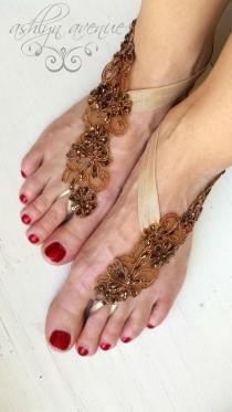 Barefoot Sandals - Foot Jewelry - Bronze Gold Lace - Beach Wedding -  Bottomless Sandals - Brides Bridesmaids - Reception Shoes - Bridesmaids 84df77b5bfea