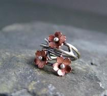 wedding photo - Cherry Blossom Branch, Twig Jewelry, Spring Jewelry, Silver Ring, 1 Ring MADE To ORDER, Twig Ring, Branch Ring, POINTED Petals