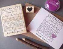 wedding photo - Save The Date Stamp Set - DIY Calendar Stamp With Heart Over Your Date - Names And Location -- Wedding Rubber Stamp