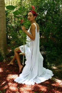 wedding photo - 100% Cotton Nightgown Cottage Chic Ruffle White Summer Lingerie Romantic Sleepwear Honeymoon Cruise Beach Lounge Garden
