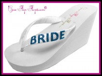 wedding photo - Bride Glitter Flip Flops Ivory Wedding Shoes Wedge Bridal White Glitter Satin Wedding platform heel Bling Ribbon brides bridesmaids