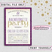 """wedding photo - Bachelorette Party Invitation """"Sparkle On - Purple"""" Collection (Printable File Only) Last Fling Purple Gold Glitter Bachelorette Invite"""