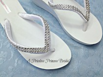 wedding photo - Bridal Wedge Flip Flops White Ivory Beach Wedding Beach Wedding Shoes RhinestonesPlatform Girls Bridesmaid, Bling Crystal