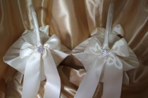 wedding photo - 2-Ivory Satin Flower Girl Baskets Ivory Satin Ribbons Pearls and Rhinestone Accent-Large Basket-CUSTOM COLORS