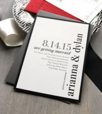 "wedding photo - Modern Wedding Invitations, Wedding Invitation, Urban Chic Wedding Invitations, Black, White And Red - ""Urban Elegance"" Sample"