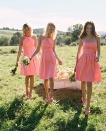 wedding photo - 2015 Style Rustic A Line Strapless Knee Length Coral Bridesmaid Dresses Satin Summer Bridesmaid Gowns From Dresscomeon