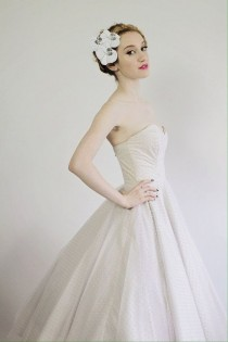 "wedding photo - Pink Swiss Dot Tulle Wedding Dress With Sweetheart Neckline ""Hey Jenni"" Dress Rockabilly Vintage Style"