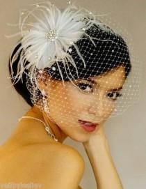 wedding photo - White RHINESTONE BROOCH Fascinator & RHINESTONE BIRDCAGE VEIL Bridal Veil 27-31