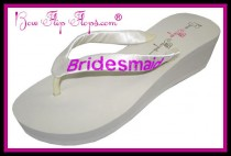 wedding photo - Bridesmaid Flip Flops Wedding Bling Wedge Glitter Ivory White Black Shoes Bridal Satin Gift platform heel brides bridesmaid Maid Honor