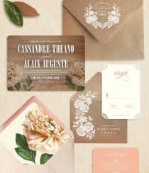 wedding photo - Peach Peony Rustic Modern Wood Wedding Invitations