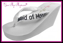 wedding photo - Maid of Honor Flip Flops Bridesmaid Flip Flops Wedding Bling Wedge Glitter Ivory White Black Shoes Bridal Satin Gift platform heel brides