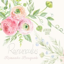 wedding photo - Ranunculus Bouquets Flowers Hand Drawn Clip Art Watercolor - digital flowers, DIY invites, scrapbooking, wedding invitations