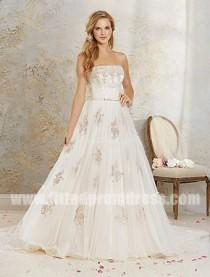 wedding photo - Alfred Angelo 8537 Strapless Lace Applique Wedding Gowns