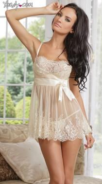 wedding photo - Ivory Elegance Babydoll And G-String
