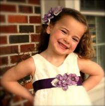 wedding photo - Flower Girl Sash and Hair Pin Set - Lavender Purple Silk Flower Headband and Belt for Wedding, Pageant