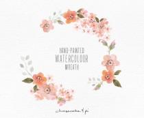 wedding photo - Watercolor wreath: 1 PNG floral clip art / Wedding invitation clip art / commercial use / Peach blossom / CM0063a