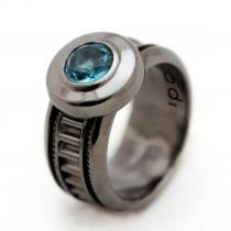 wedding photo - Unique black ring, Ring for men, Black Engagement Ring, Aquamarine gemstone, Steampunk Ring, Unisex ring, Personalized Ring, Black jewelry
