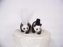wedding photo - Panda Bear Cake Topper, Bear Wedding Cake Topper, Animal Cake Topper, Woodland Cake Topper, Forest Cake Topper