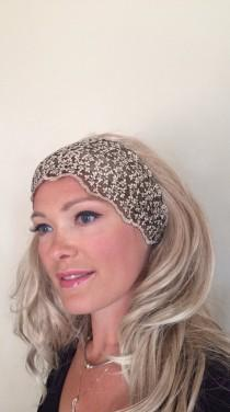 wedding photo - Lace Headband Great Gatsby Cream Gold Hair band Beige Headwrap Stretch Headcovering Vintage Headband Wedding Valentine Day Gift
