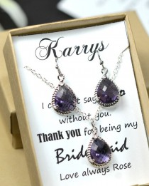 wedding photo - Purple bridesmaid jewelry , purple bridesmaid gift ,Wedding bridal jewelry,bridesmaid gifts,Purple Earrings & Necklace SET ,Drop, Dangle